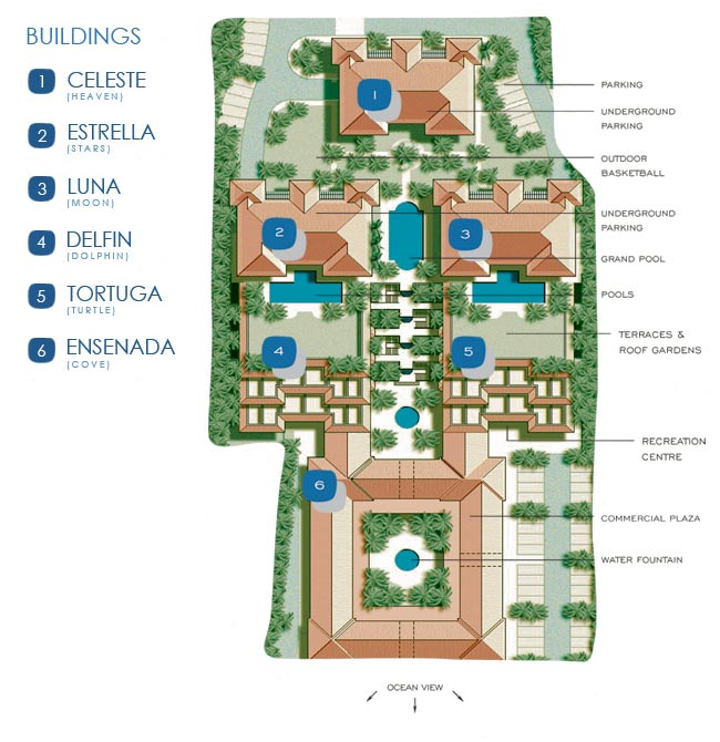 La Vista Azul Hotel Site and Facility Map